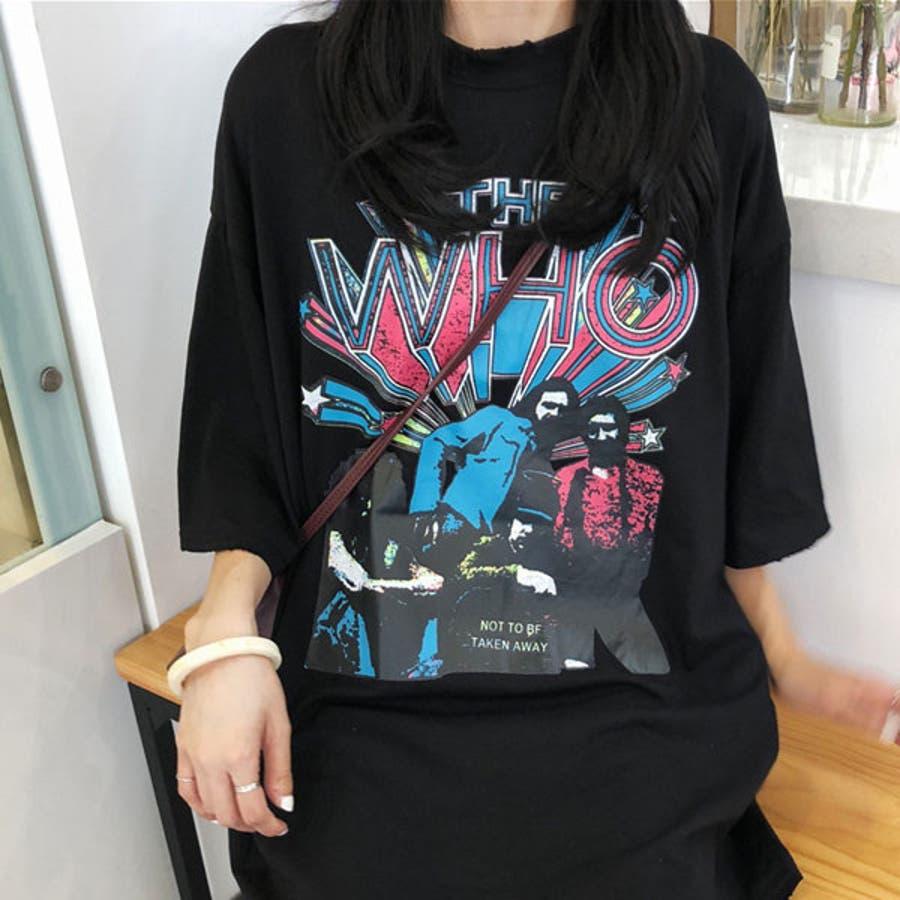 Tシャツ レディース トップス 半袖 チュニック プールオーバー クルーネック カジュアル シンプル ロック 柄 春夏 黒 ブラック 21
