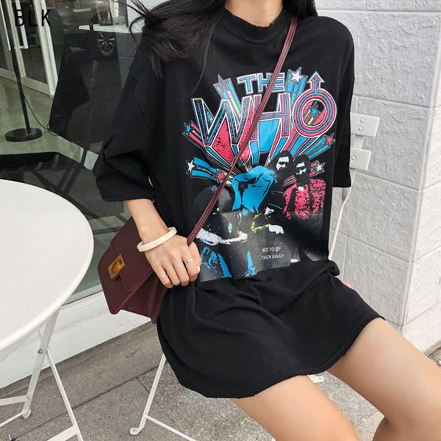 Tシャツ レディース トップス 半袖 チュニック プールオーバー クルーネック カジュアル シンプル ロック 柄 春夏 黒 ブラック 4