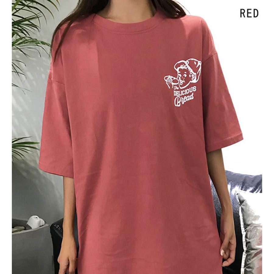 Tシャツ レディース トップス 半袖 チュニック プールオーバー クルーネック カジュアル シンプル 春夏 白 ホワイト 黒 ブラック赤 レッド黄色 イエロー 5