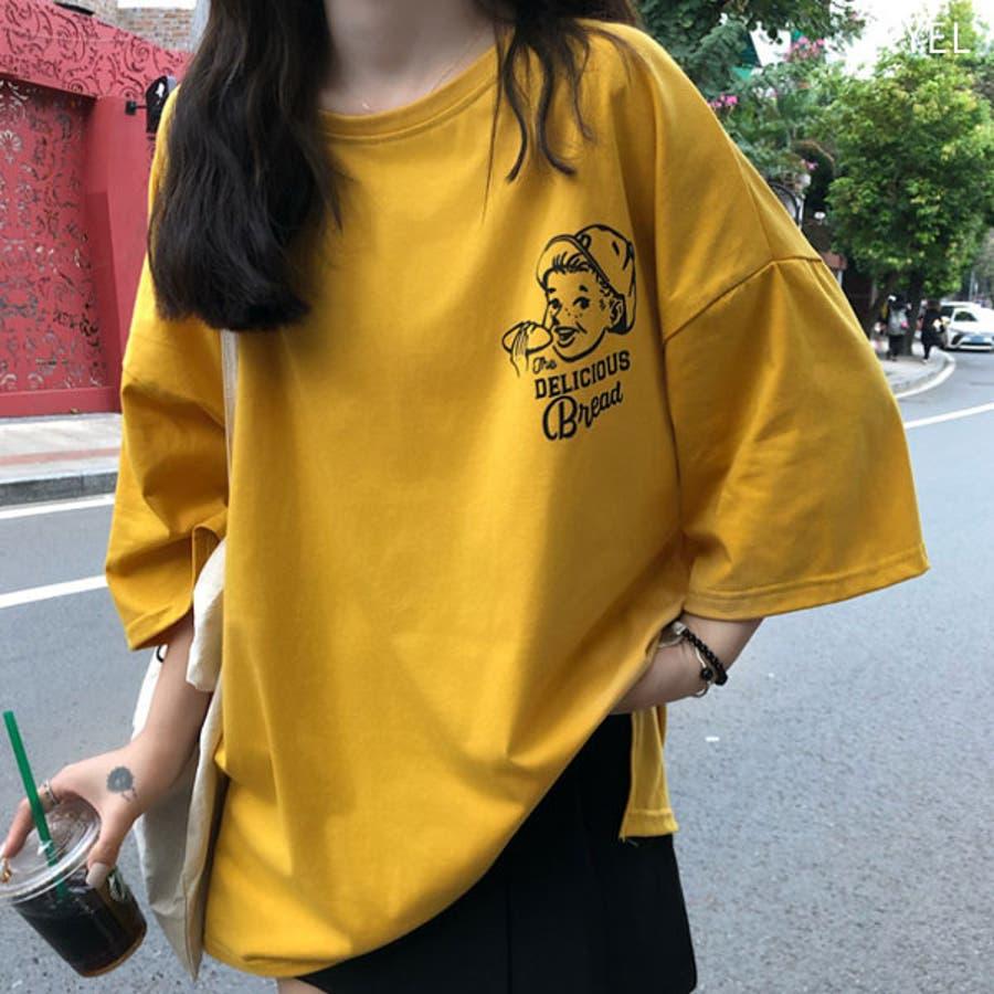 Tシャツ レディース トップス 半袖 チュニック プールオーバー クルーネック カジュアル シンプル 春夏 白 ホワイト 黒 ブラック赤 レッド黄色 イエロー 7