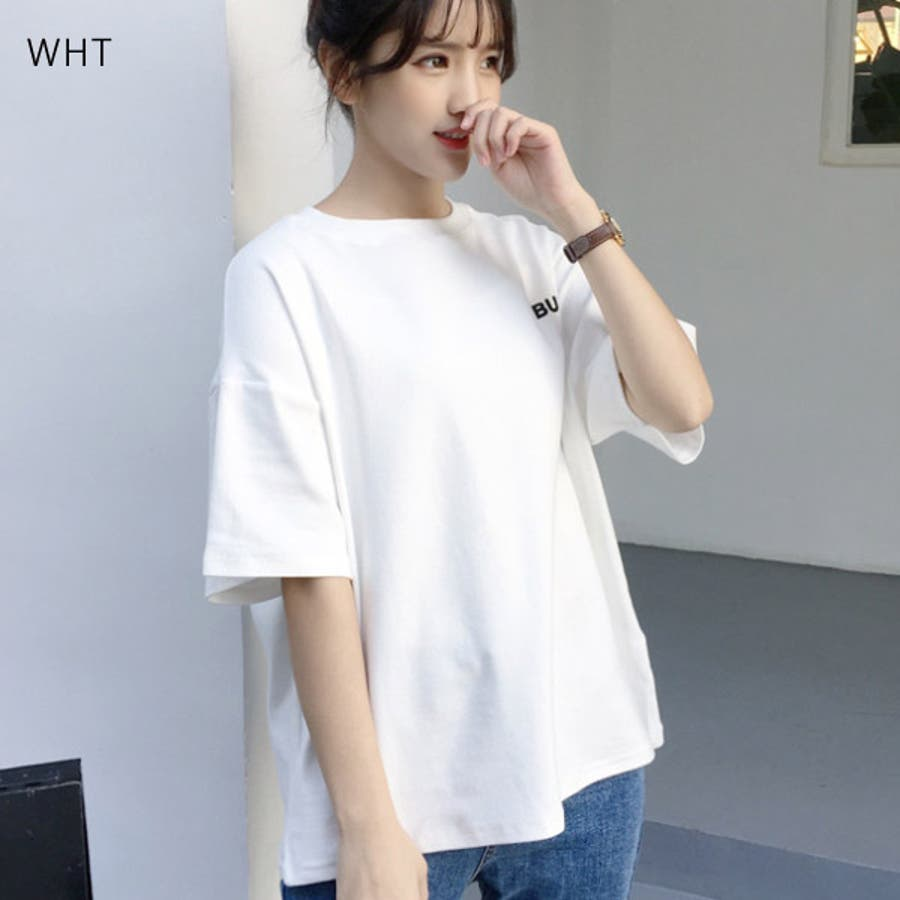 Tシャツ レディース トップス 半袖 チュニック プールオーバー クルーネック カジュアル シンプル かわいい 春夏 白 ホワイトピンク 9