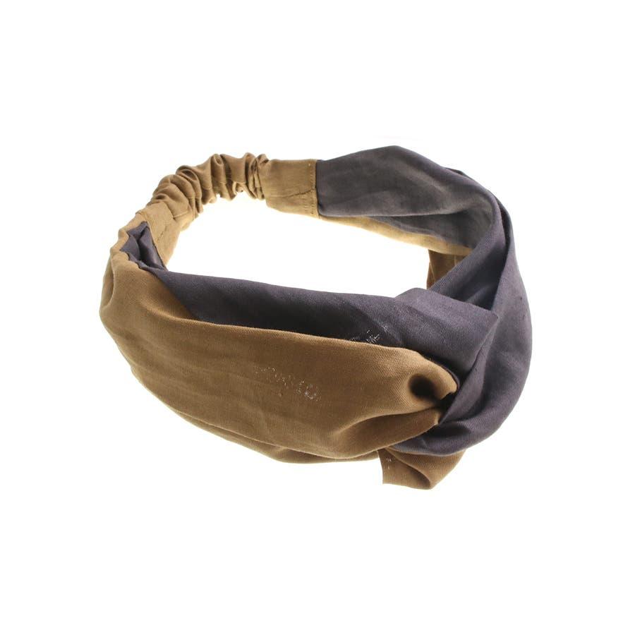 バイカラー ターバンヘアバンド ヘアターバン クロスヘアバンド 麻 リネン カジュアル 大人っぽい シンプル ボリューム レディースヘアアクセサリー HB-97 2
