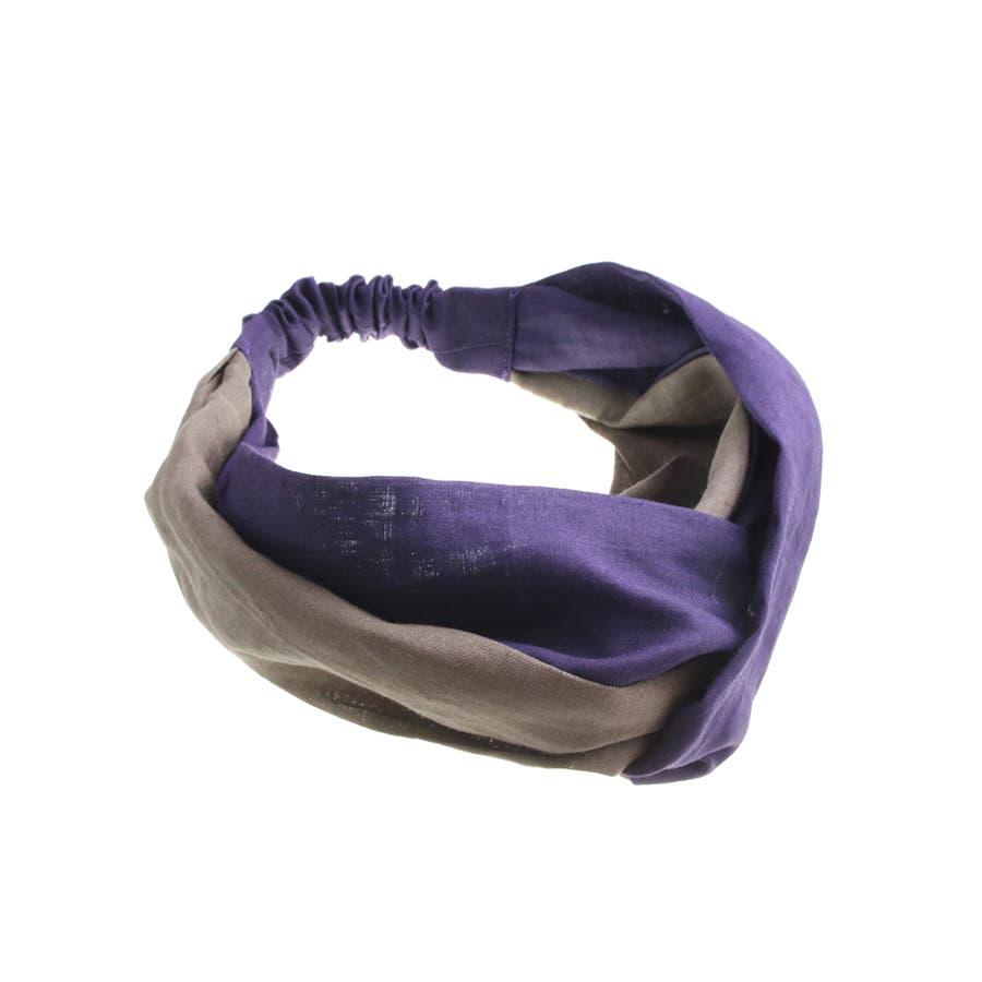 バイカラー ターバンヘアバンド ヘアターバン クロスヘアバンド 麻 リネン カジュアル 大人っぽい シンプル ボリューム レディースヘアアクセサリー HB-97 3