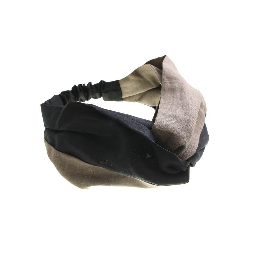 バイカラー ターバンヘアバンド ヘアターバン クロスヘアバンド 麻 リネン カジュアル 大人っぽい シンプル ボリューム レディースヘアアクセサリー HB-97 5