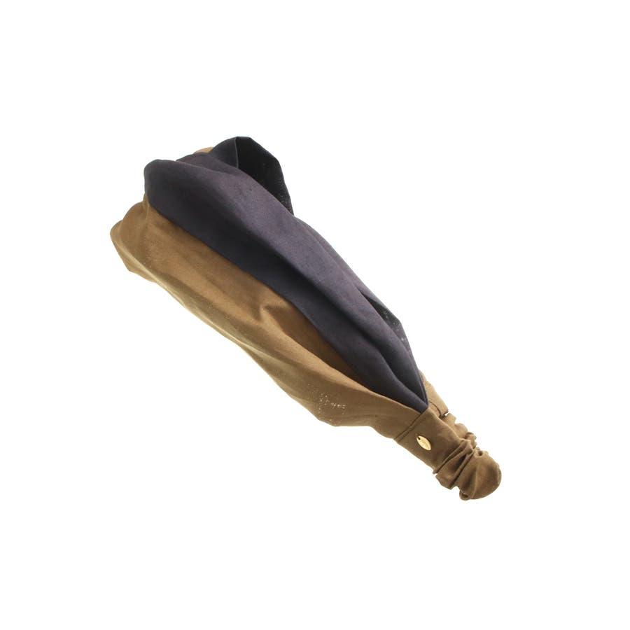 バイカラー ターバンヘアバンド ヘアターバン クロスヘアバンド 麻 リネン カジュアル 大人っぽい シンプル ボリューム レディースヘアアクセサリー HB-97 6
