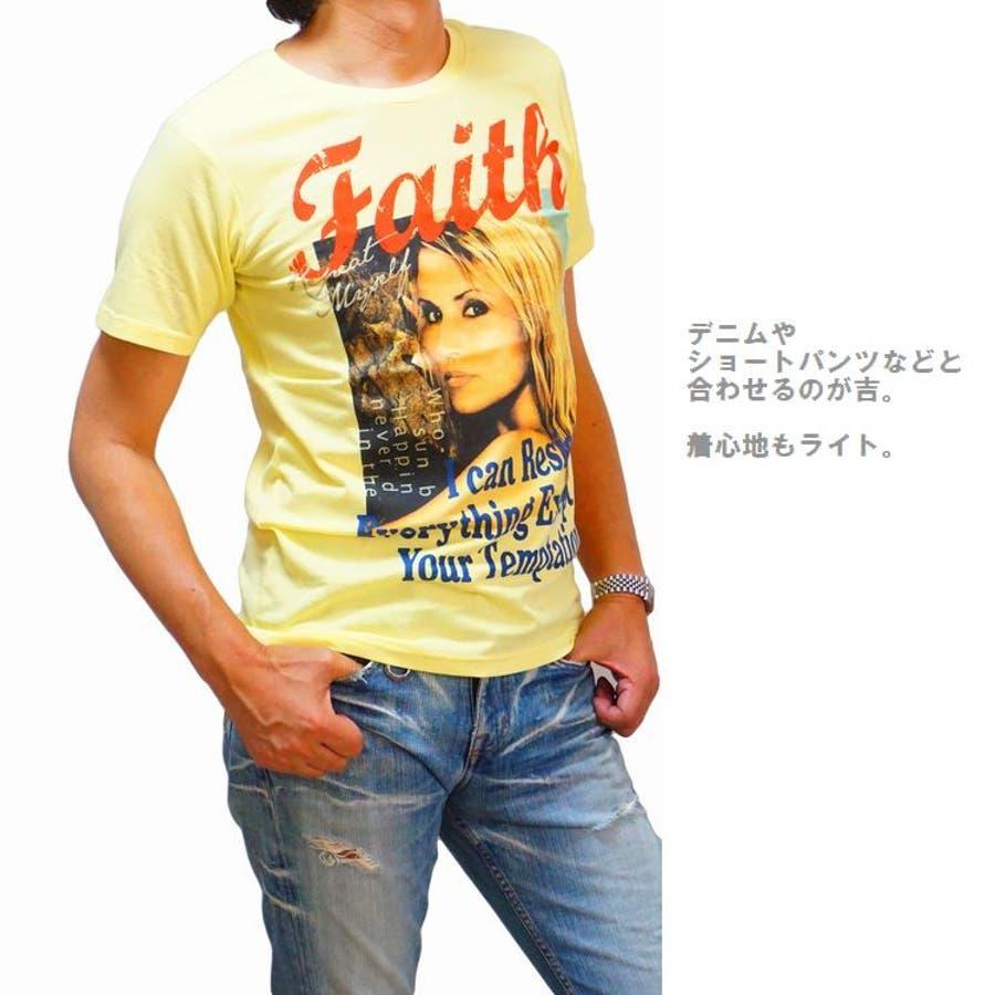 メンズ 半袖Tシャツ フォトプリント カラー ブロンドガール クルーネックストレッチ(men'sTシャツ、men'sクールビズ)REAL MASTERS リアルマスターズ 4