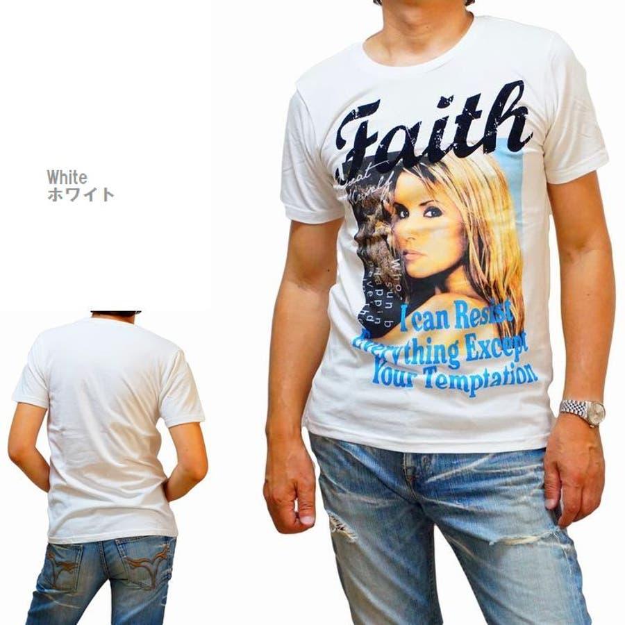 メンズ 半袖Tシャツ フォトプリント カラー ブロンドガール クルーネックストレッチ(men'sTシャツ、men'sクールビズ)REAL MASTERS リアルマスターズ 7