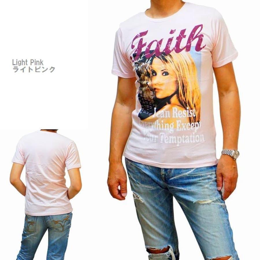 メンズ 半袖Tシャツ フォトプリント カラー ブロンドガール クルーネックストレッチ(men'sTシャツ、men'sクールビズ)REAL MASTERS リアルマスターズ 8