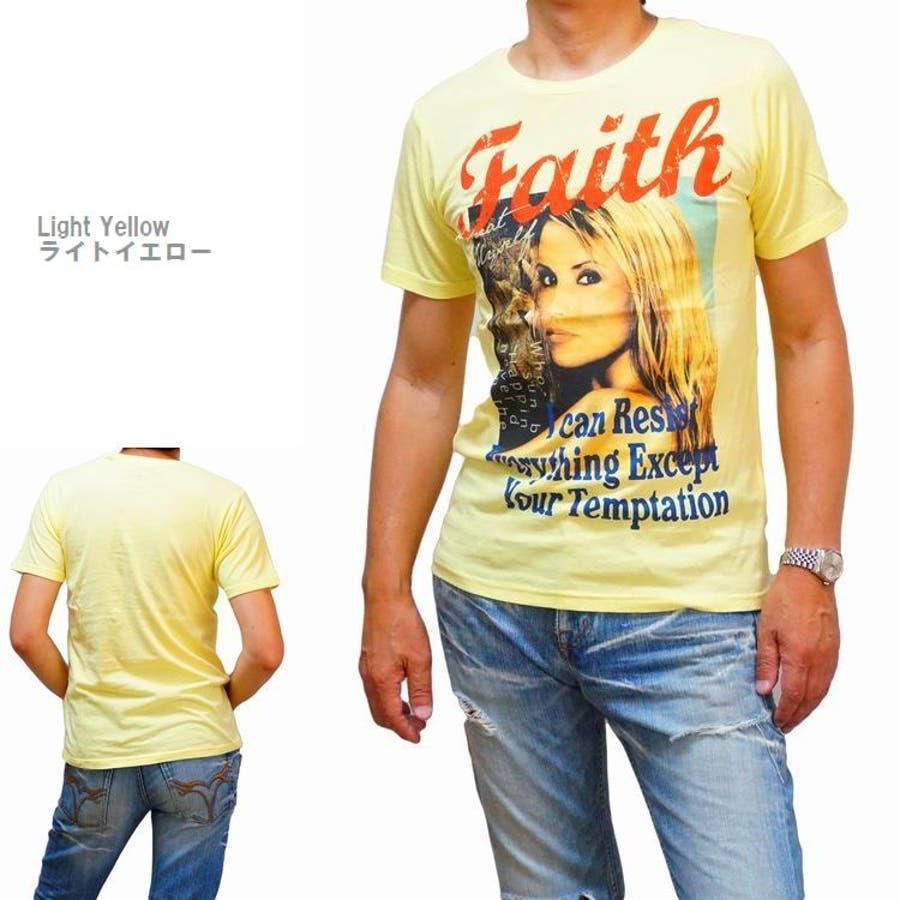 メンズ 半袖Tシャツ フォトプリント カラー ブロンドガール クルーネックストレッチ(men'sTシャツ、men'sクールビズ)REAL MASTERS リアルマスターズ 9