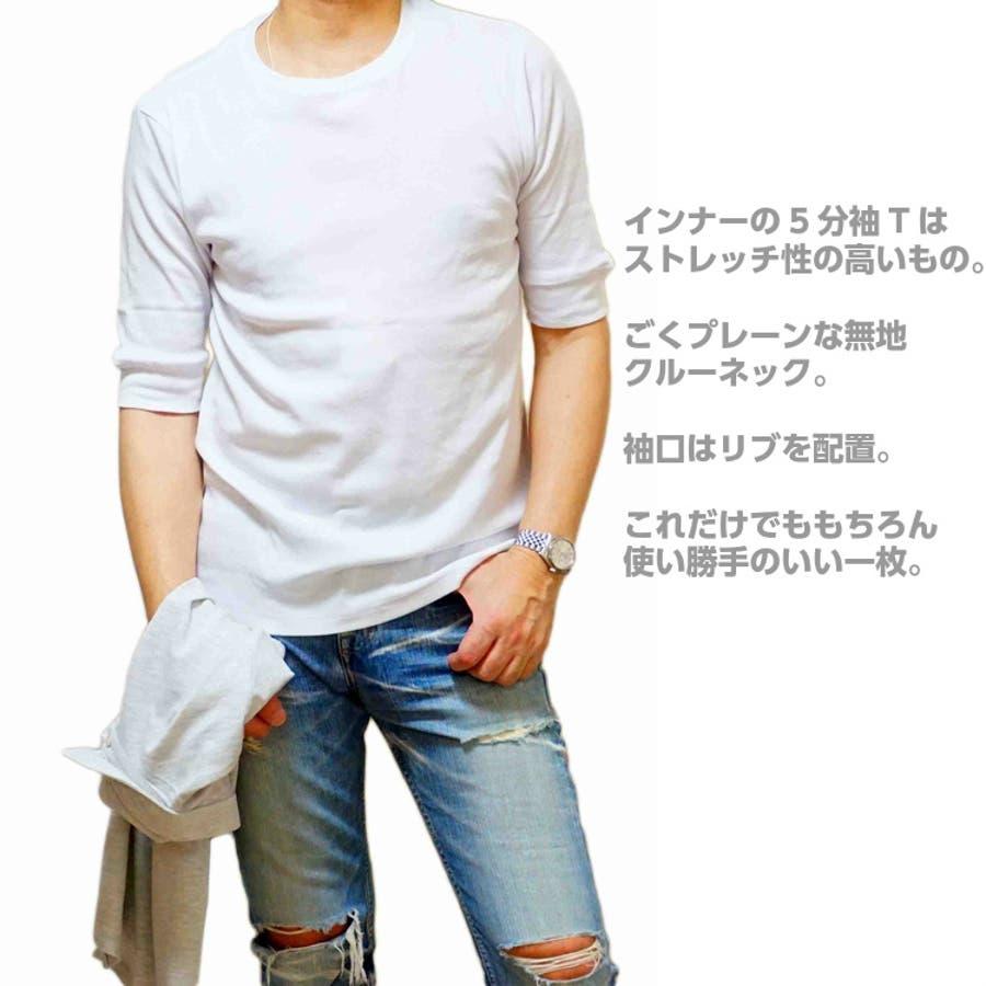 ポロシャツ メンズ 半袖 カノコポロ 5分袖Tシャツ レイヤード 重ね着 2枚セット 刺繍 リーフプリントタイプ バックプリントかすれプリント 7