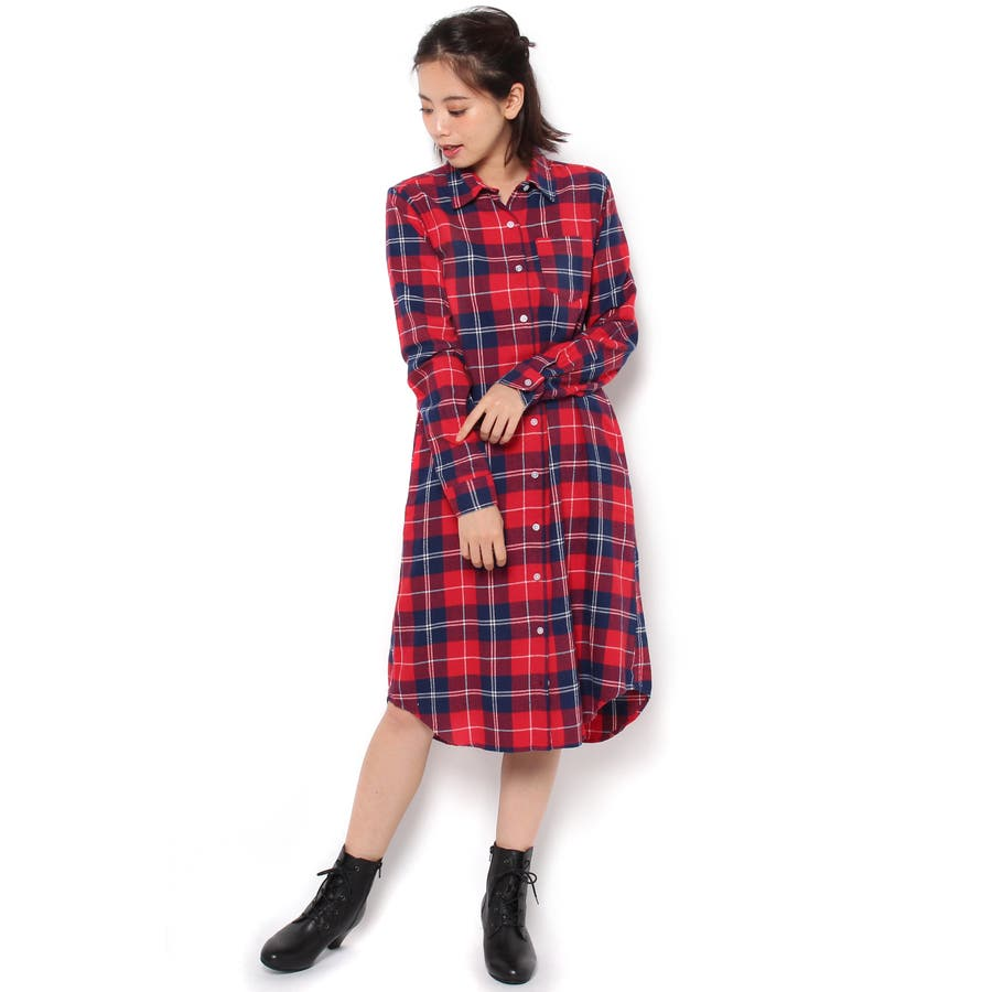 レディースファッション通販WEGO/チェックネルシャツワンピース