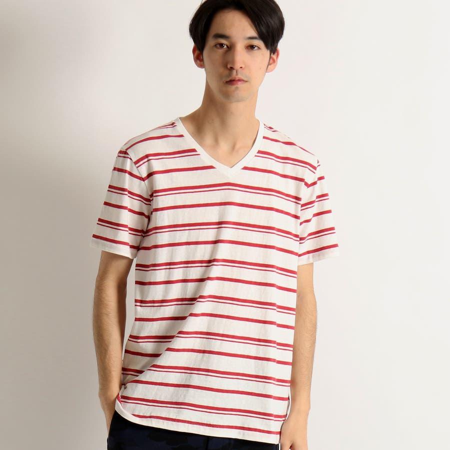 WEGO/リネン混ランダムボーダーTシャツ 1