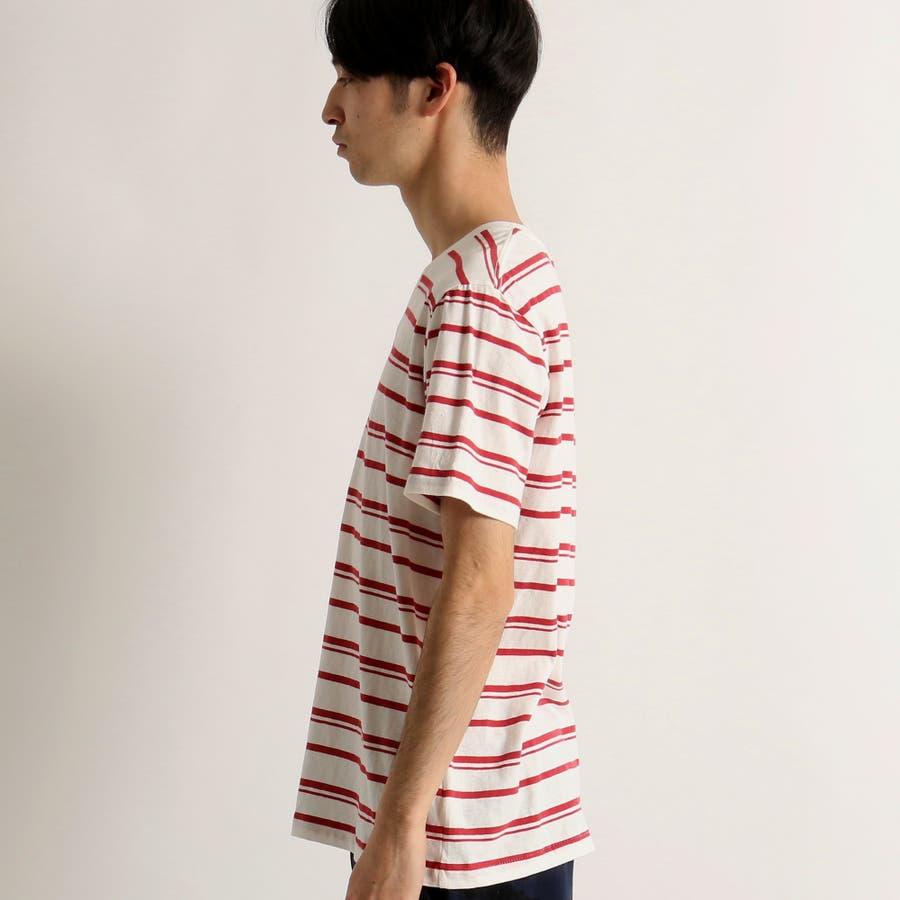 WEGO/リネン混ランダムボーダーTシャツ 2