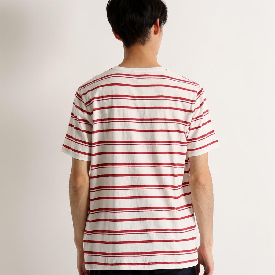 WEGO/リネン混ランダムボーダーTシャツ 3