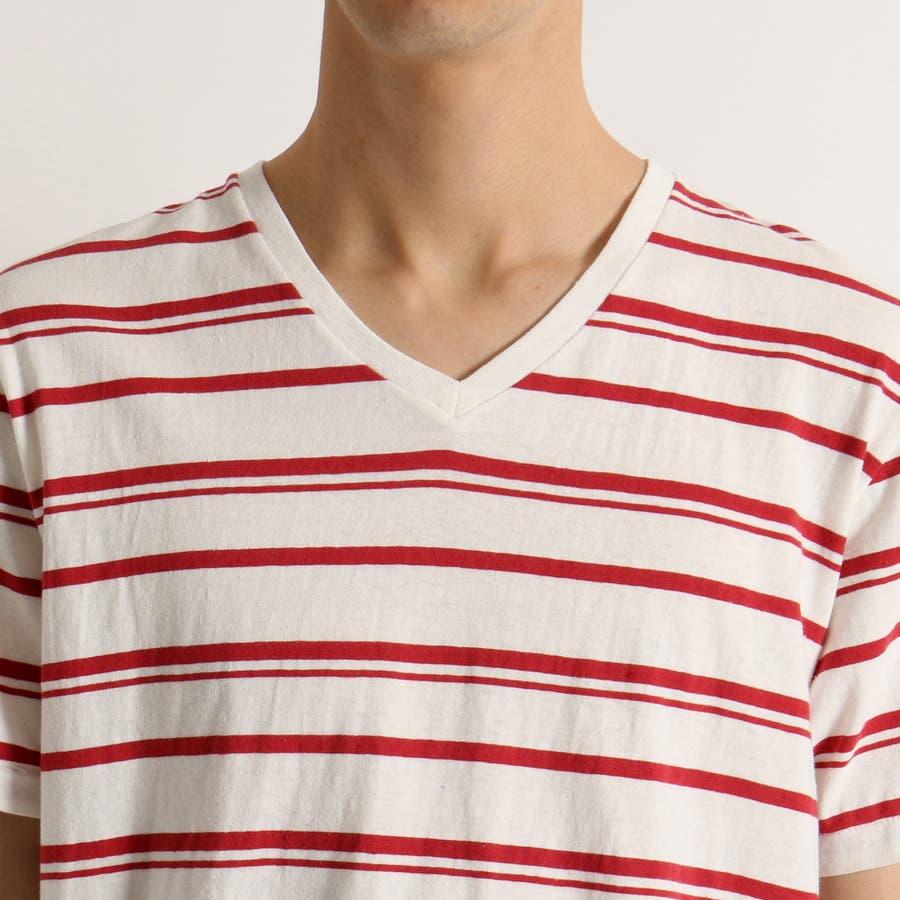 WEGO/リネン混ランダムボーダーTシャツ 4