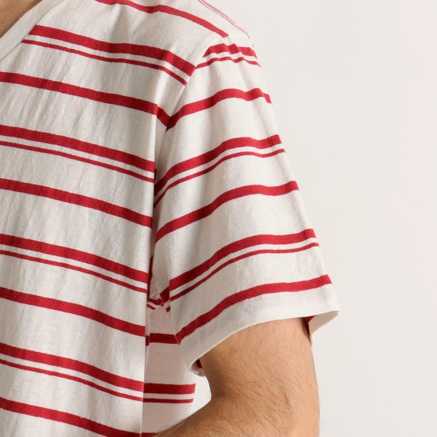 WEGO/リネン混ランダムボーダーTシャツ 5