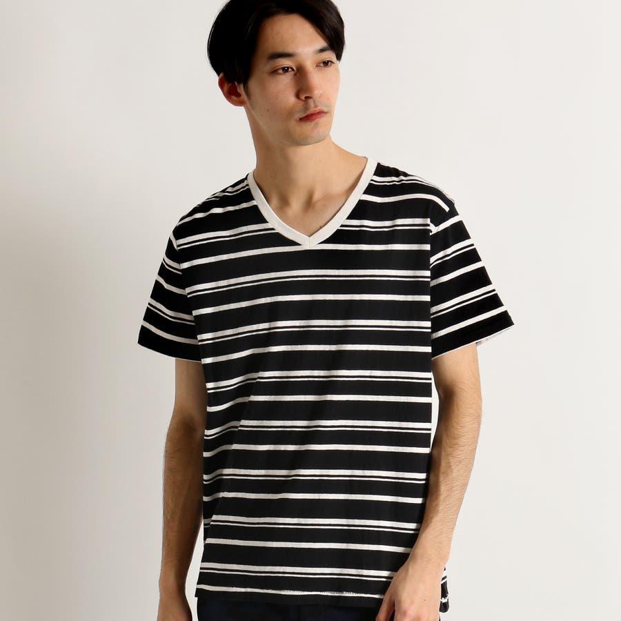 WEGO/リネン混ランダムボーダーTシャツ 21
