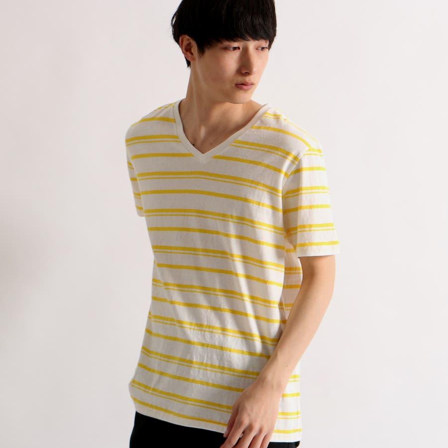 WEGO/リネン混ランダムボーダーTシャツ 83