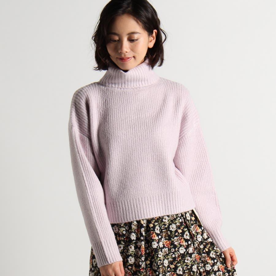 タートルクロップドセーター|Lパープル