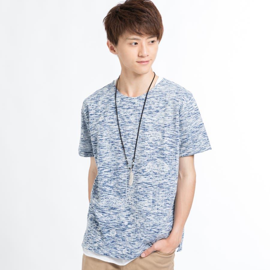ネックレス付きレイヤード総柄Tシャツ 1