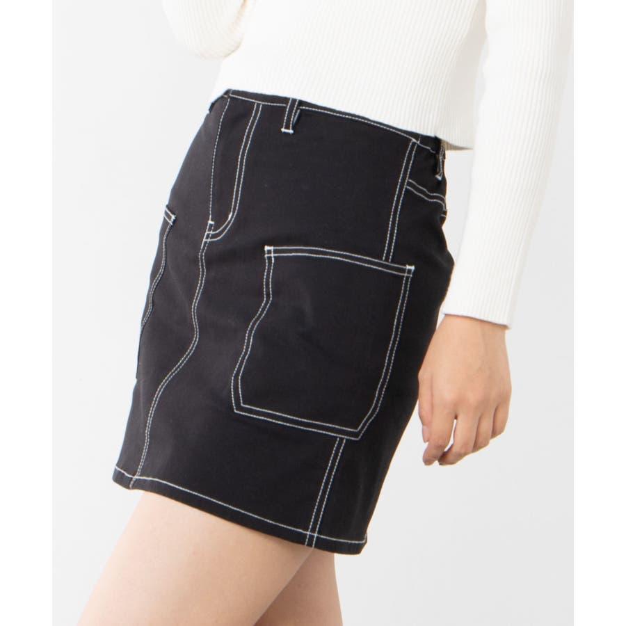 ステッチサイドポケットミニスカート WE20SP12-L8185 1