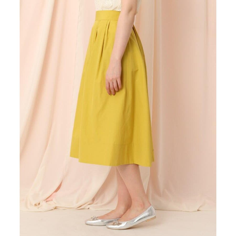 【WEB限定サイズ(LL)あり/洗える】タフタ(撥水加工)タックカラースカート 3