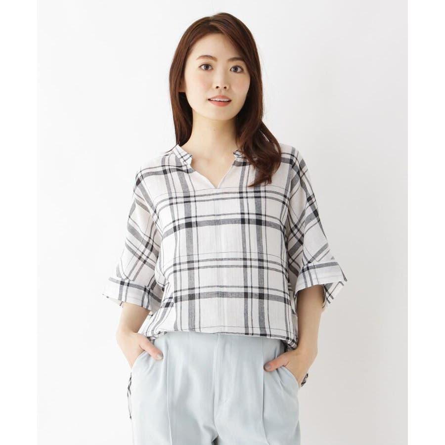 【洗濯機OK】リネン混ビッグスキッパーシャツ 1