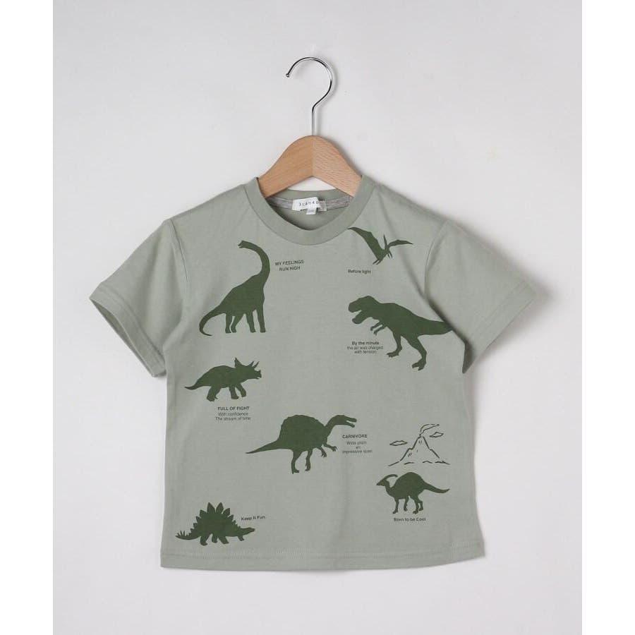 【90-140cm】恐竜プリントTシャツ 48