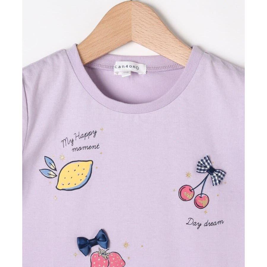 【100-140cm】立体リボンとフルーツ柄Tシャツ 4