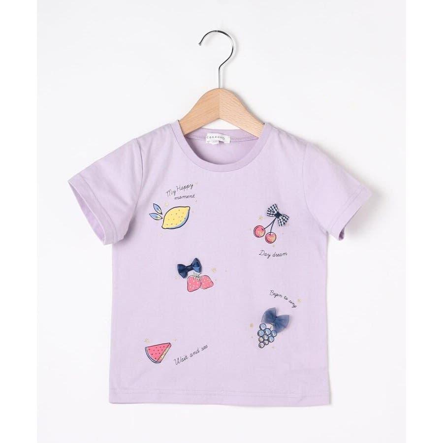 【100-140cm】立体リボンとフルーツ柄Tシャツ 82