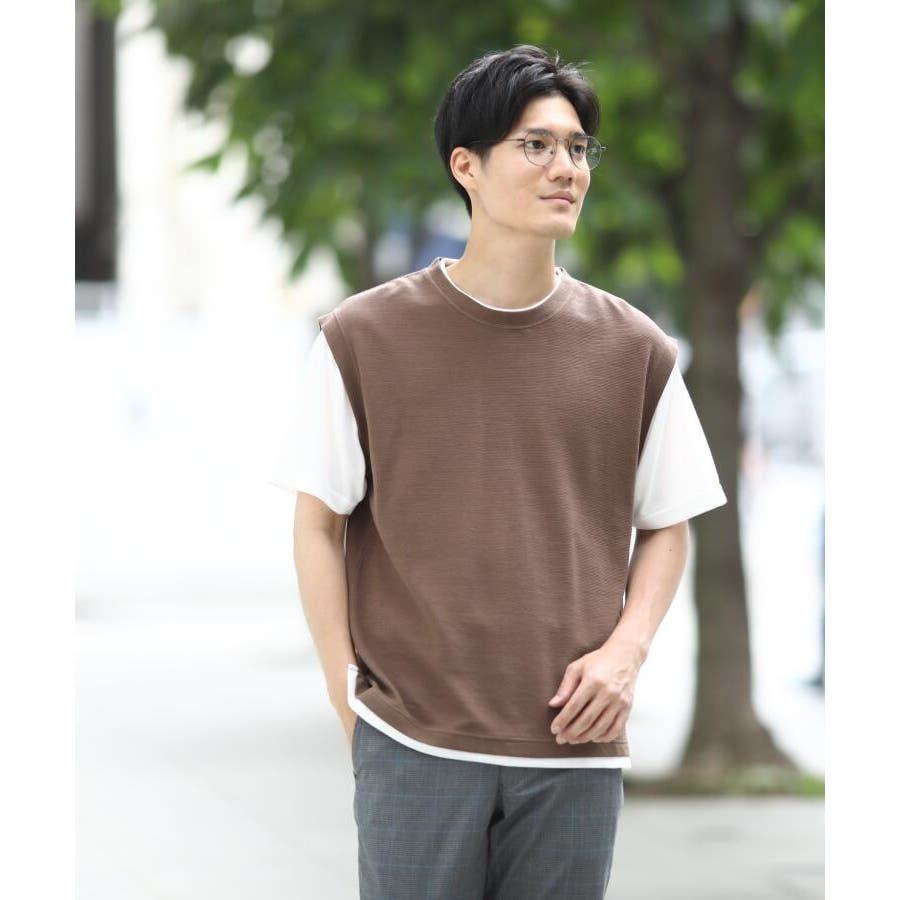 【接触冷感】ポリエチレンフェイクベストTシャツ 6