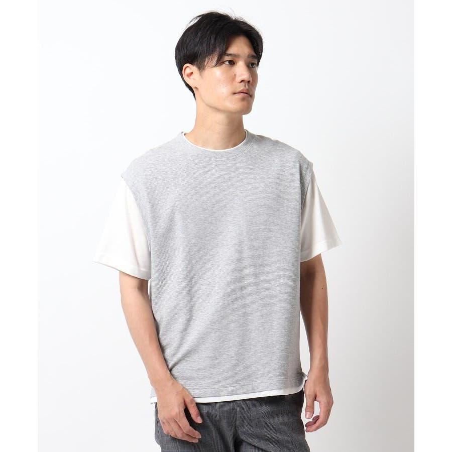 【接触冷感】ポリエチレンフェイクベストTシャツ 23