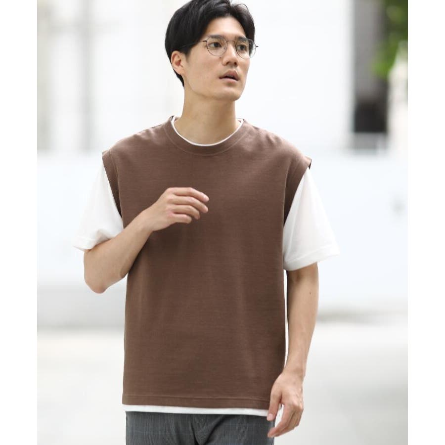 【接触冷感】ポリエチレンフェイクベストTシャツ 29