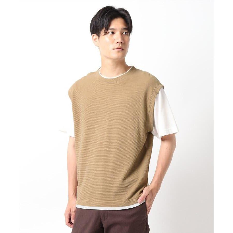 【接触冷感】ポリエチレンフェイクベストTシャツ 41