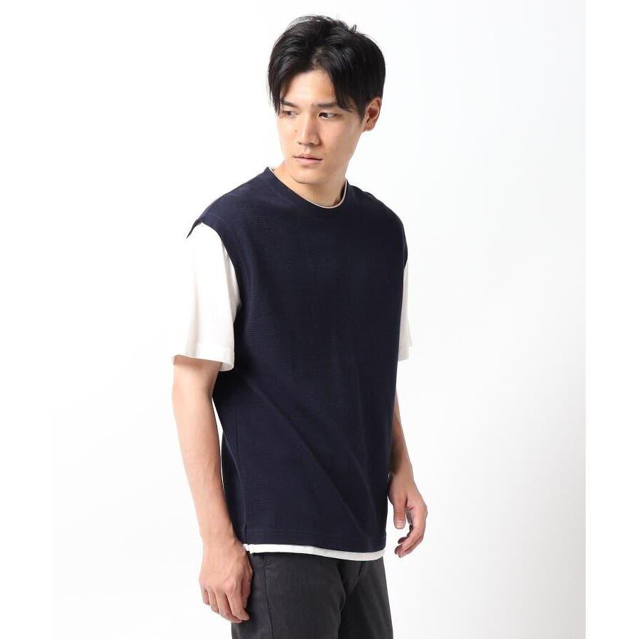 【接触冷感】ポリエチレンフェイクベストTシャツ 64