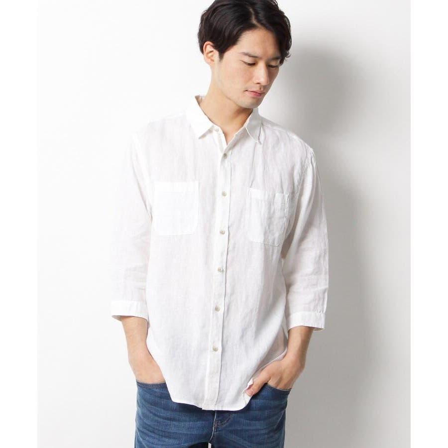 【ベルギーリネン】7分袖シャツ 1