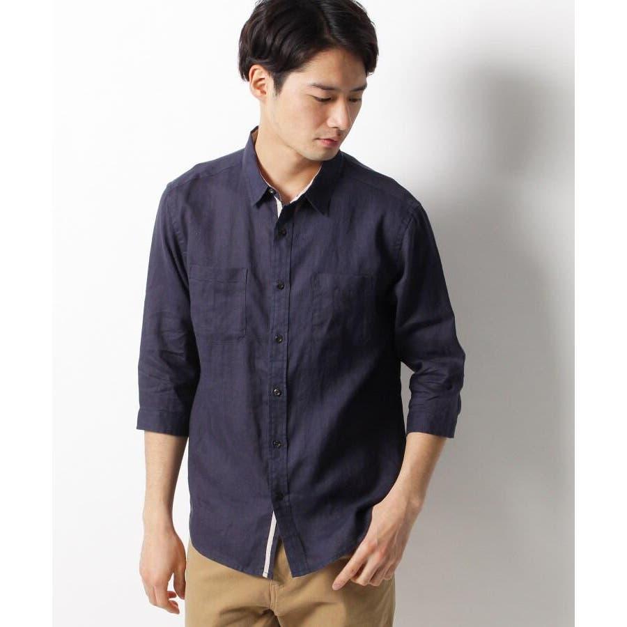 【ベルギーリネン】7分袖シャツ 7