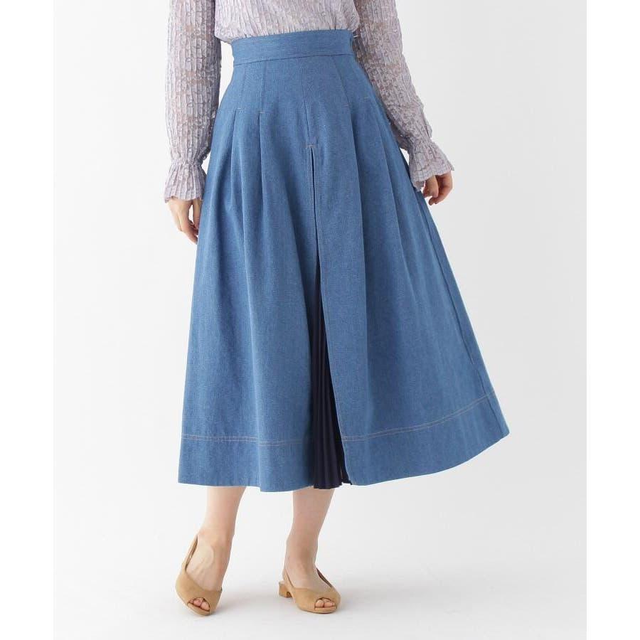 【洗える】プリーツ切替デニムスカート 60