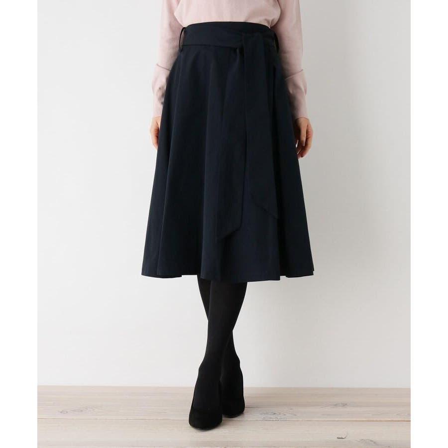 【洗える】リボンベルトタフタフレアスカート 2