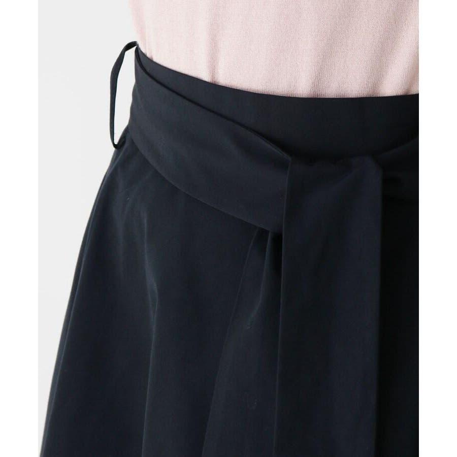 【洗える】リボンベルトタフタフレアスカート 5