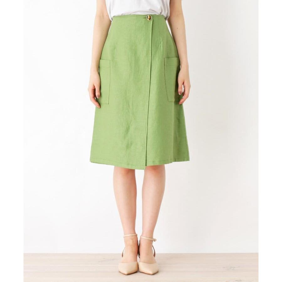 【洗える】リネン混ポケットラップスカート 2