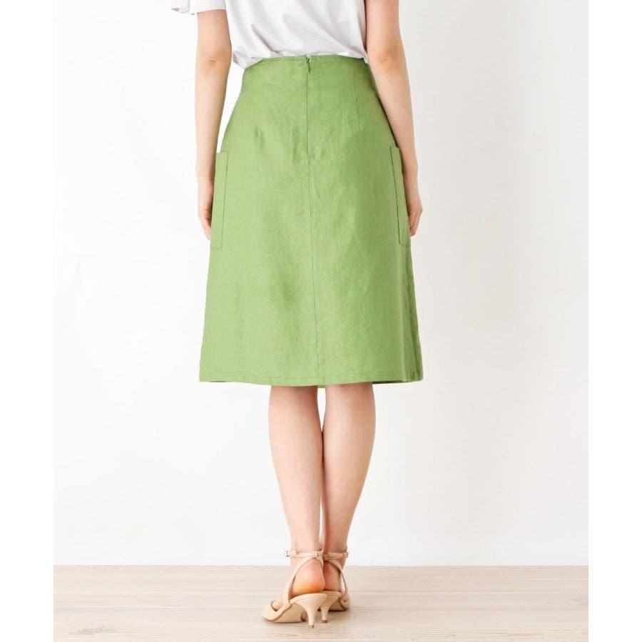 【洗える】リネン混ポケットラップスカート 4