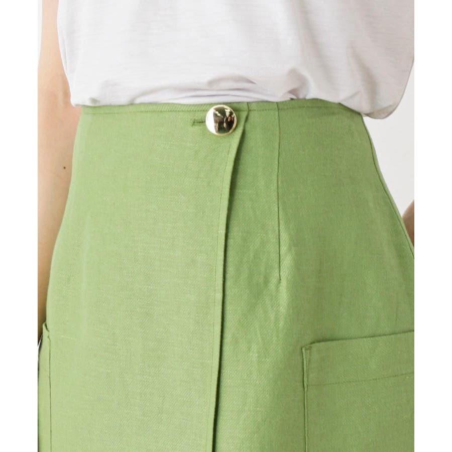 【洗える】リネン混ポケットラップスカート 5