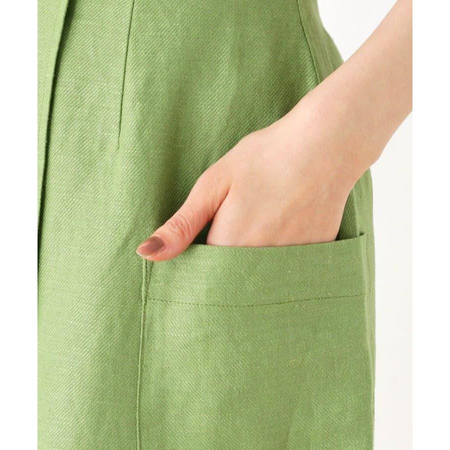 【洗える】リネン混ポケットラップスカート 6