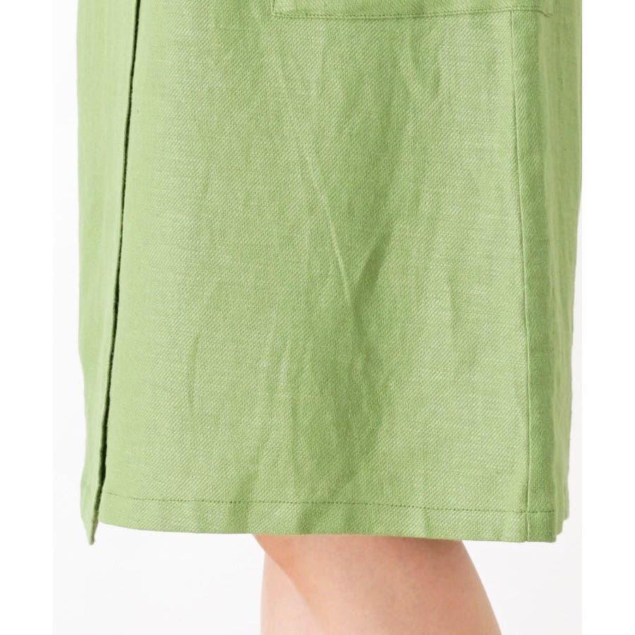 【洗える】リネン混ポケットラップスカート 7