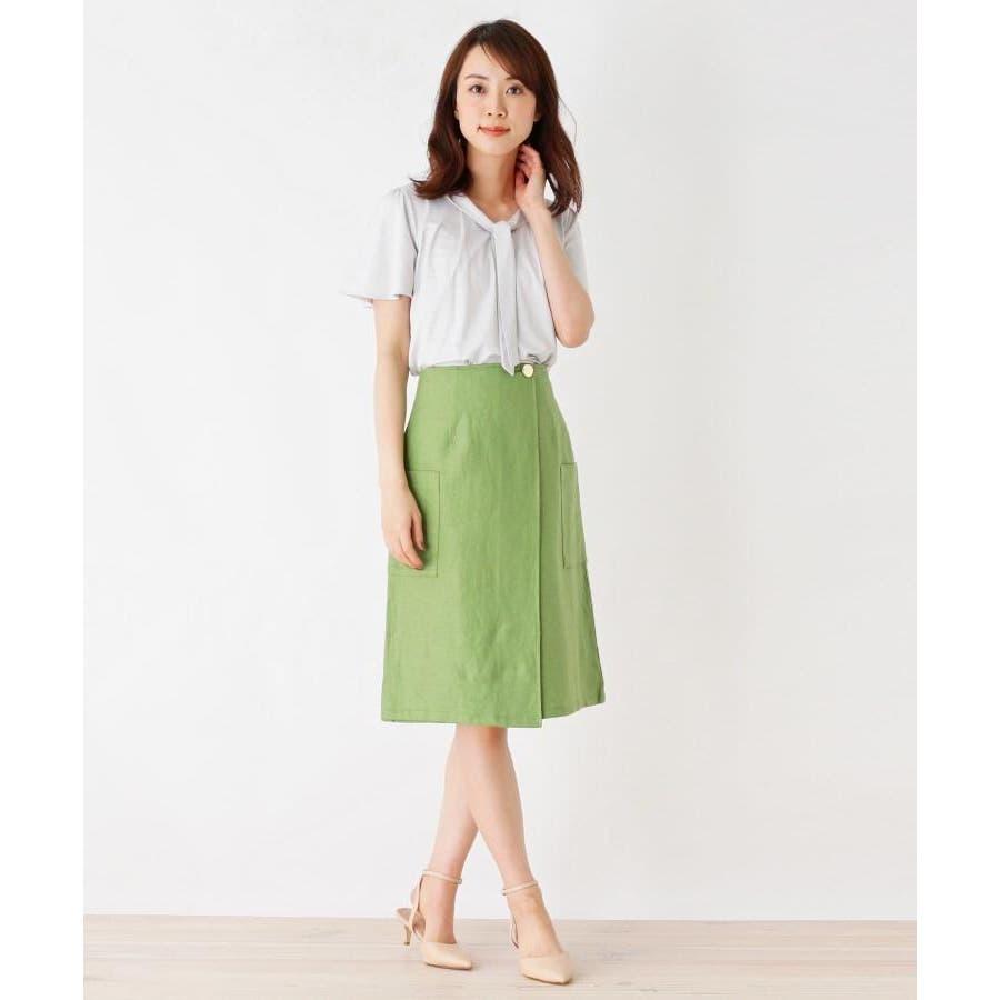 【洗える】リネン混ポケットラップスカート 8