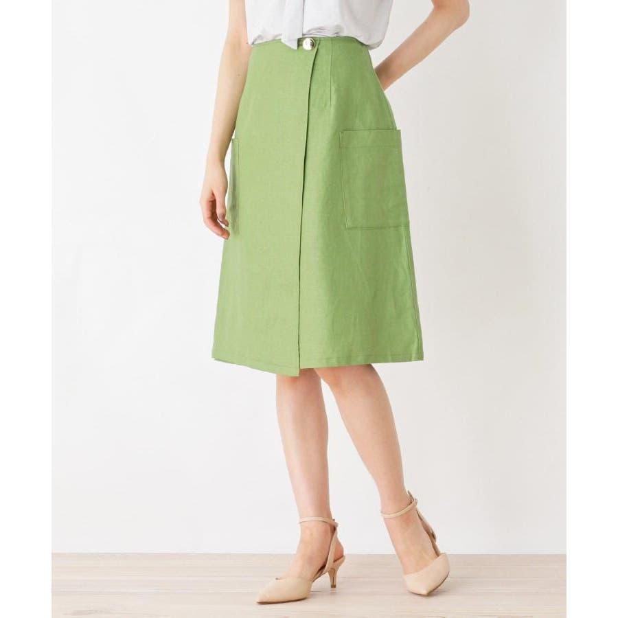 【洗える】リネン混ポケットラップスカート 48