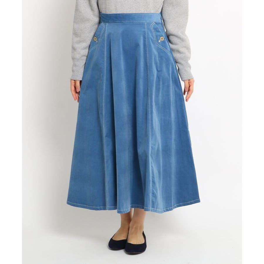 【Sサイズあり 洗える】超長綿コーデュロイフレアスカート 2