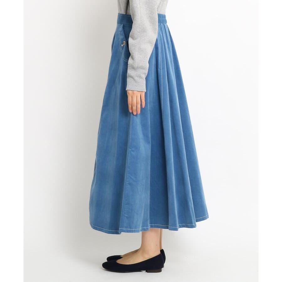 【Sサイズあり 洗える】超長綿コーデュロイフレアスカート 3