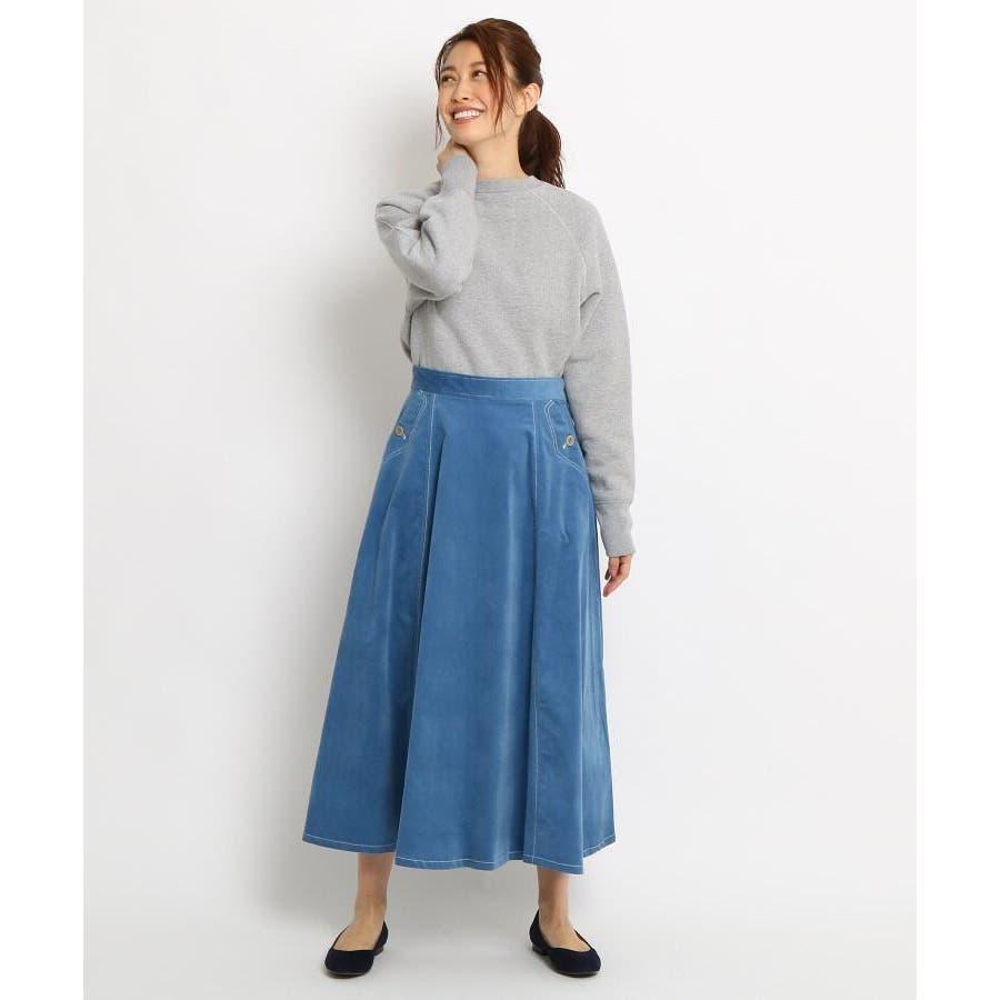 【Sサイズあり 洗える】超長綿コーデュロイフレアスカート 8